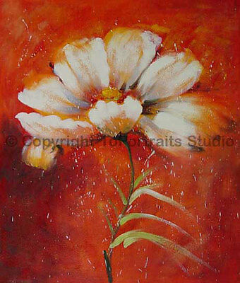 """Decorative Red Floral Oil Painting on Canvas, Original Handmade Art, 30"""" x 36"""""""