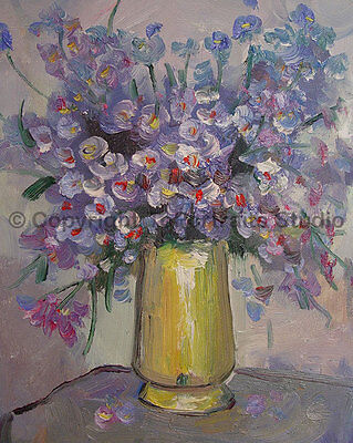 "Vase With Purple Flowers, Original Still Life Oil Painting on Canvas, 26"" x 34"""