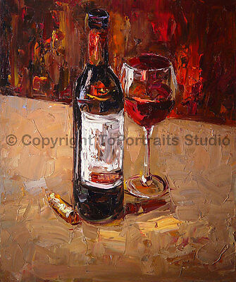 "Original Impasto Wine Still Life Oil Painting on Canvas, Modern Art, 30"" x 36"""