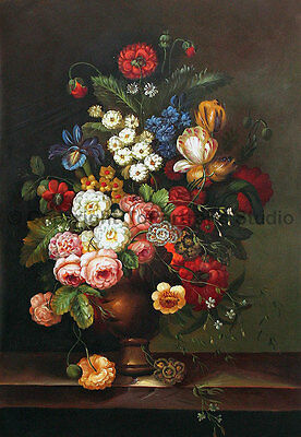 """Copper Vase With Flowers, Original Still Life Oil Painting on Canvas, 26"""" x 36"""""""
