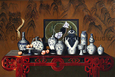 """Chinese Vases and Jars, Original Still Life Oil Painting on Canvas , 36"""" x 24"""""""