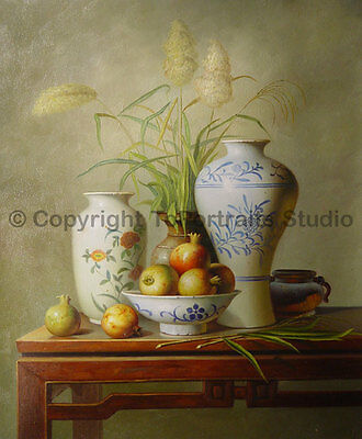 """Chinese Vases & Onions, Original Hand Painted Oil Canvas Painting, 30"""" x 36"""""""