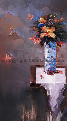 "Blue Vase With Flowers, Original Still Life Oil Painting on Canvas , 20"" x 36"""