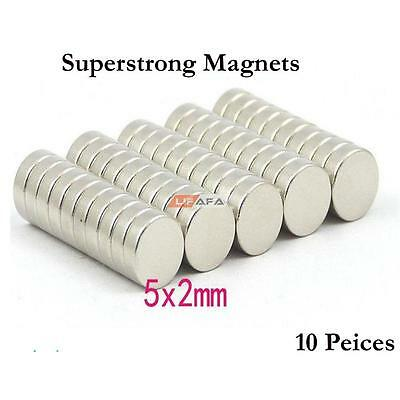 10Pcs Strong Small Disc Magnets Round Rare Earth Neodymium 5x 2mm Fridge Magnets