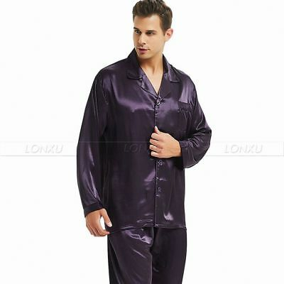 Mens Silk Satin Pajamas Set  Pyjamas Set Sleepwear S ~4XL Plus__Fits All Seasons