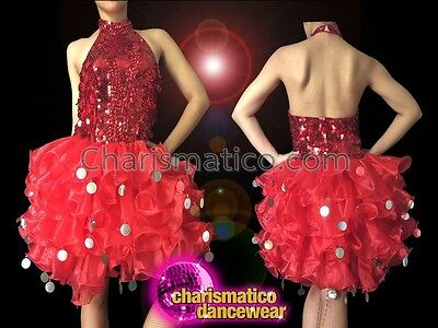 CHARISMATICO Red and white striped sequin diva dress with pearl trim