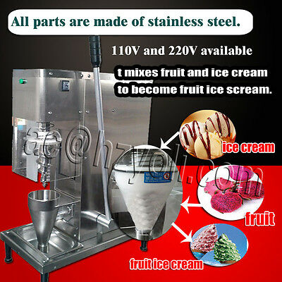 DHL shipping,new yogurt fruit ice cream blender/mixer machine with cone cup