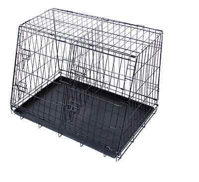 Barkshire Durable 2 Door Metal Sloping Car Boot Travel Crate Folding Dog Cage