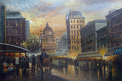 """The Capital View In Winter Day, Original Street Scene Oil Painting , 36"""" x 24"""""""