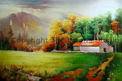"The Barn At The Meadows, Original Landscape Oil Painting on Canvas , 36"" x 24"""