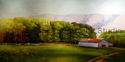 "The Barn At The Meadows, Original Hand Painted Oil Painting on Canvas, 40"" x 20"""