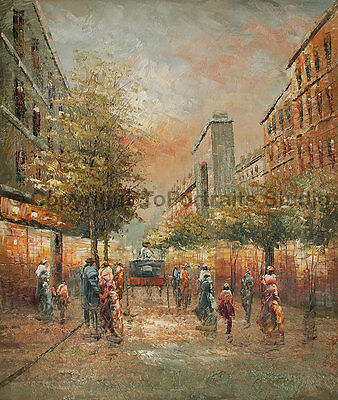 """Street Scene With Horse Cart, Original Hand Painted Oil Painting, 30"""" x 36"""""""