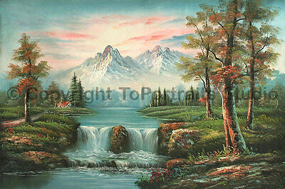 """Snowy Mountainscape With Waterfall, Original Landscape Oil Painting , 36"""" x 24"""""""
