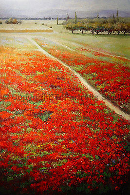 "Poppy Field, Original Landscape Oil Painting on Canvas, Textured Art, 24"" x 36"""