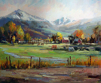 """Original Mountainscape Scenery Oil Painting on Canvas, Textured Art, 36"""" x 30"""""""
