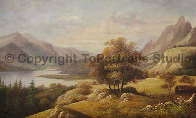 """Original Mountainscape Hand Painted Oil Painting on Canvas Art, 36"""" x 22"""""""