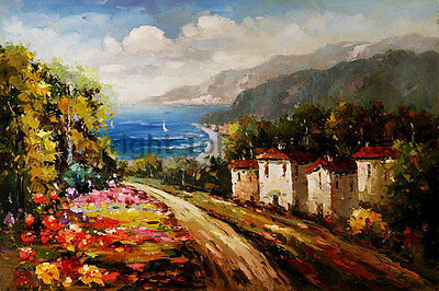 "Original Mediterranean Village Oil Painting on Canvas Artwork, 36"" x 24"""
