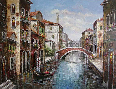 "Hand Painted Venice Italy Original Oil Painting on Canvas Artwork, 34"" x 26"""
