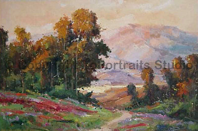 """Forest With Mountainscape, Original Landscape Oil Painting on Canvas , 36"""" x 24"""""""