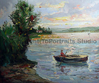 """Fisherman Scene, Hand Painted Landscape Oil Painting on Canvas Art, 36"""" x 30"""""""