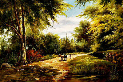 """Farmer With Two Cows At The Forest, Original Landscape Oil Painting , 36"""" x 24"""""""