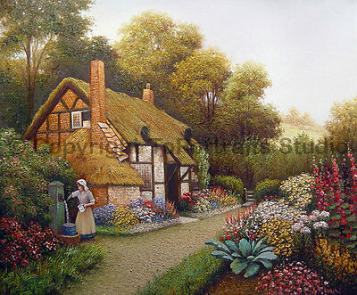 "English Cottage Home, Original Landscape Oil Painting on Canvas Art, 36"" x 30"""