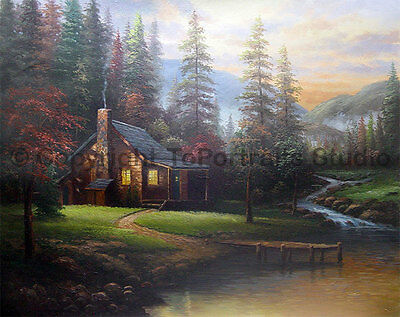 """Cottage House With Stream, Original Landscape Oil Painting on Canvas, 34"""" x 26"""""""