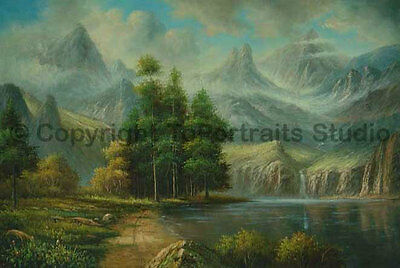 """Beautiful Mountainscape Hand Painted Oil Painting on Canvas Artwork, 36"""" x 24"""""""