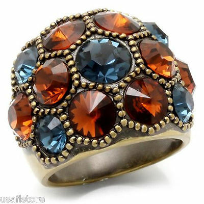 MultiColor Crystal Antique Copper Plated Ladies Ring Size 7-8-9-10