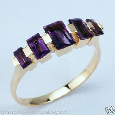 New 9K Solid White Gold Ring, Baguette Amethysts Size K