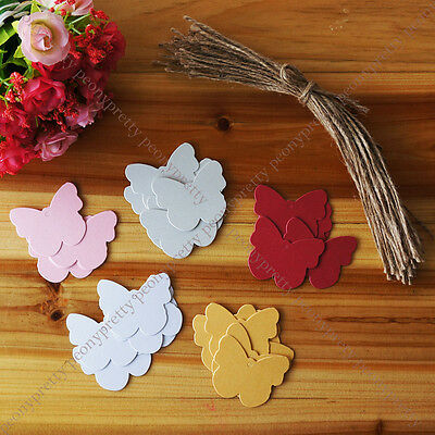 pearlized butterfly hang tag label wedding favor gift card note With jute string