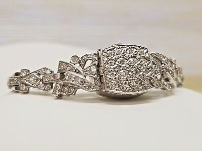 Antique Icabloc 14K White Gold And Diamonds Watch / Bracelet