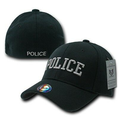 hot sale online d5cec f5b2f Black Police Officer Cop Embroidered Flex Baseball Fit Fitted Ball Cap Hat  S M