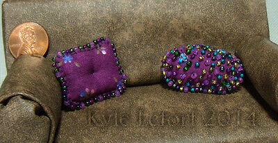 Dollhouse Miniature Purple Beaded Pillows - One Inch Scale (1:12)  Handmade OOAK