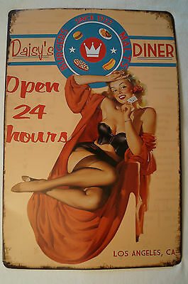 RETRO STYLE TIN SIGN - Daisy's Diner - Open 24 Hours.