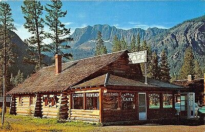 Silver Gate MT Telephone Booth Log Cabin Drive-In Restaurant Old Cars Postcard