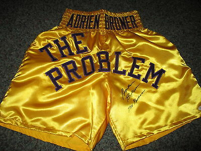 "ADRIEN ""The Problem"" BRONER Signed Boxing Trunks Shorts PROOF"