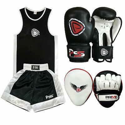 New kids boxing set 2 pieces boxing glvoes focus pads uniform black 3-14 years