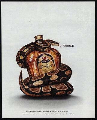 2002 CROWN ROYAL Whisky - Snake Wrapped Around Bottle - Tempted? - VINTAGE AD