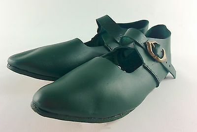 Medieval latchet  t-bar leather court shoes reenactment LARP living history UK