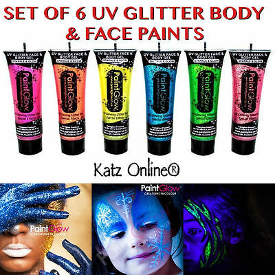Katz 6 x UV Glitter Body Gel Paints Paint 6x10ml Glow Rave Party Shiny Halloween