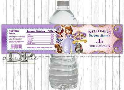 10 Princess SOFIA THE FIRST Birthday Party Water Bottle Labels Peel and Stick