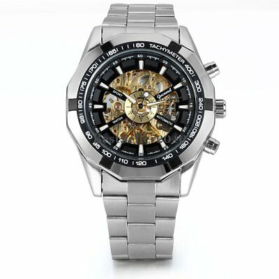 Skeleton Dial Automatic Mechanical Watch Men's Stainless Steel Band Wrist Watch