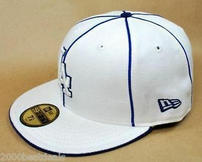 New Era 59Fifty Hat Mens MLB Los Angeles Dodgers Piping White Royal Blue Cap