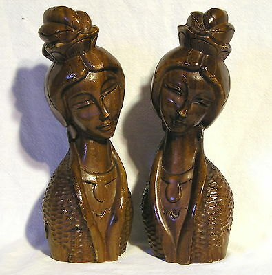 "Pair of Beautiful Wood Hard Carved ""Two Sisters"" Sculptures>10 1/4"" Tall<Signed"