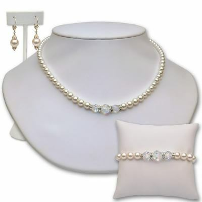 Swarovski Pearl and Crystal Bridal Jewellery Set Ivory or White