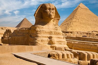 Great Sphinx And Pyramids Of Menkaure Egypt Africa Poster 29'' X 19''