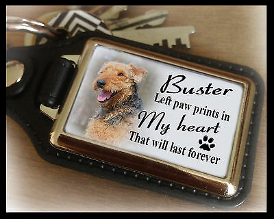 Personalised keyring, Dog in loving memory, Airedale terrier dog, Unique gift.