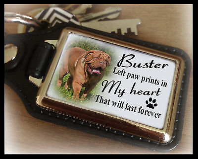 Personalised keyring, Dog in loving memory, Dogue de bordeaux dog, Unique gift.