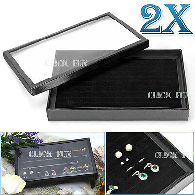 2X AU STOCK Jewelry Ring Rings Display Tray Black Velvet Pad 100 Slot Holder Box